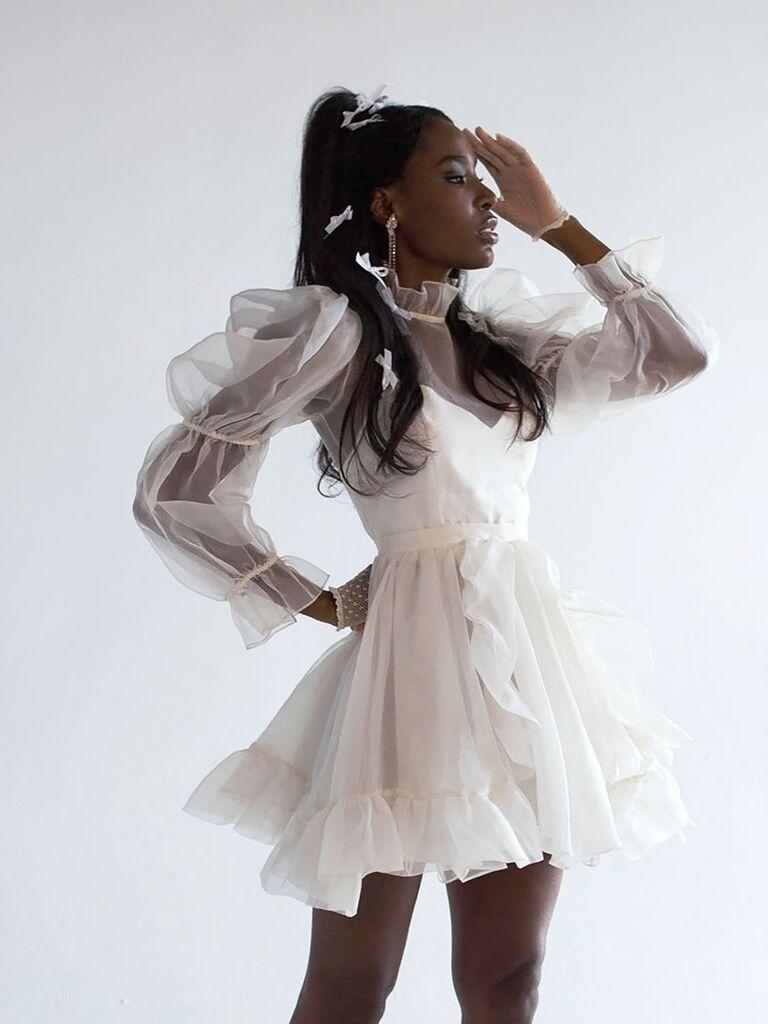 váy cưới mini Váy cưới màu trắng