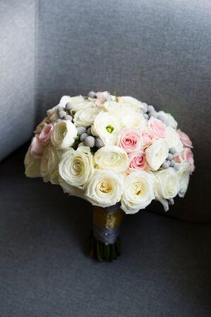 White, Silver, Blush Rose Bridal Bouquet