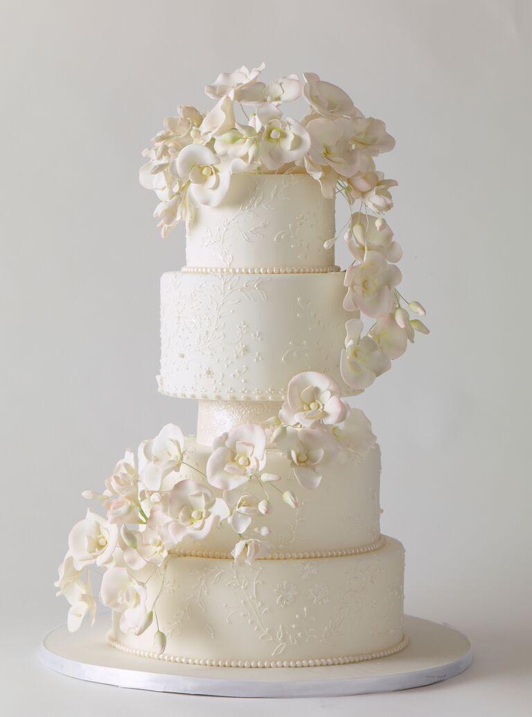 sugar flower orchids elegant wedding cake