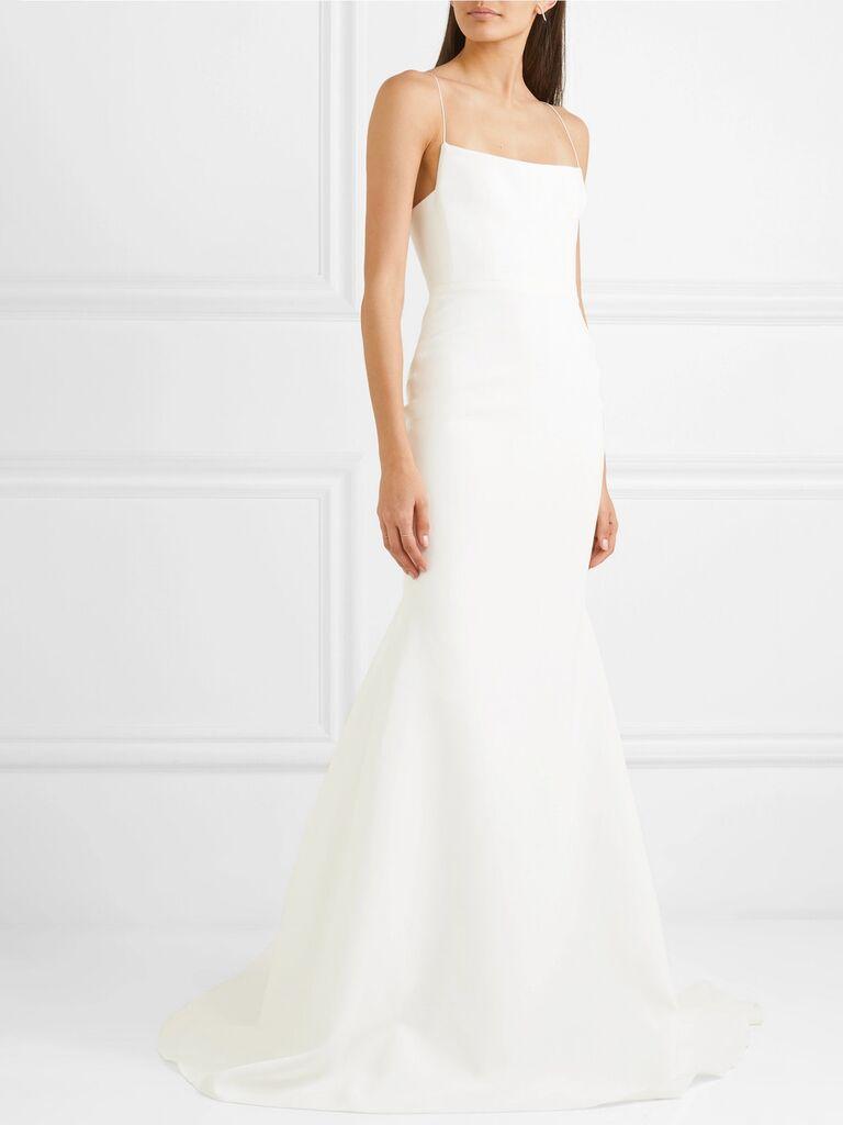 Váy cưới cổ vuông Váy cưới màu trắng