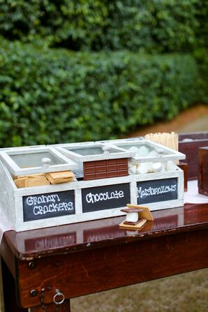 Smores Bar in Shabby-Chic Cabinet