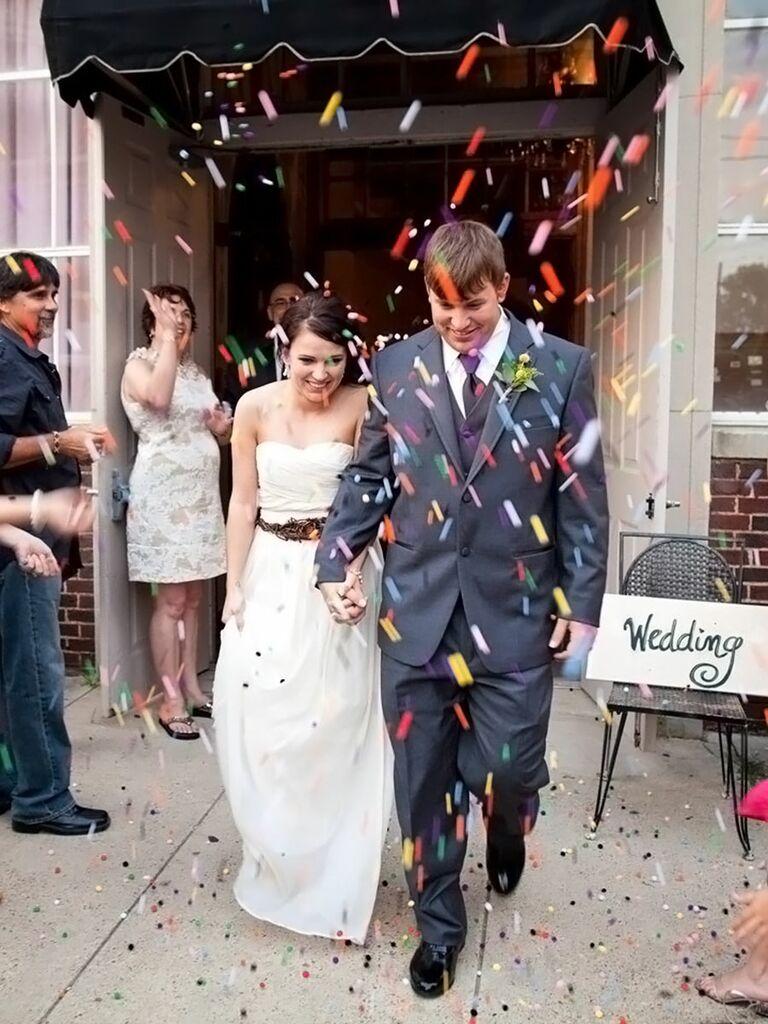 Colorful craft pom-pom wedding exit toss