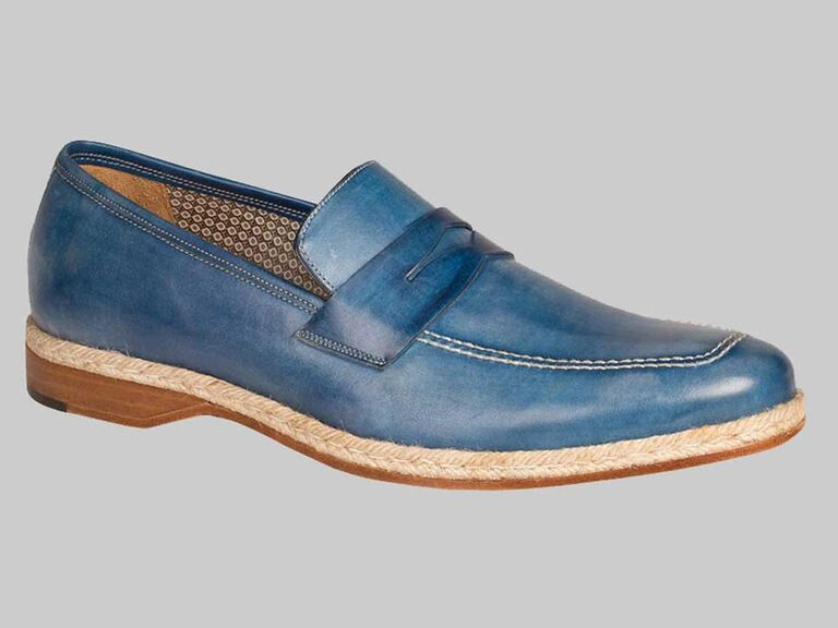 Blue loafer beach wedding shoes for groom