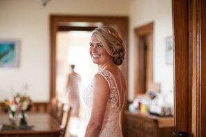 Loose Braided Bridal Updo and Long Bangs