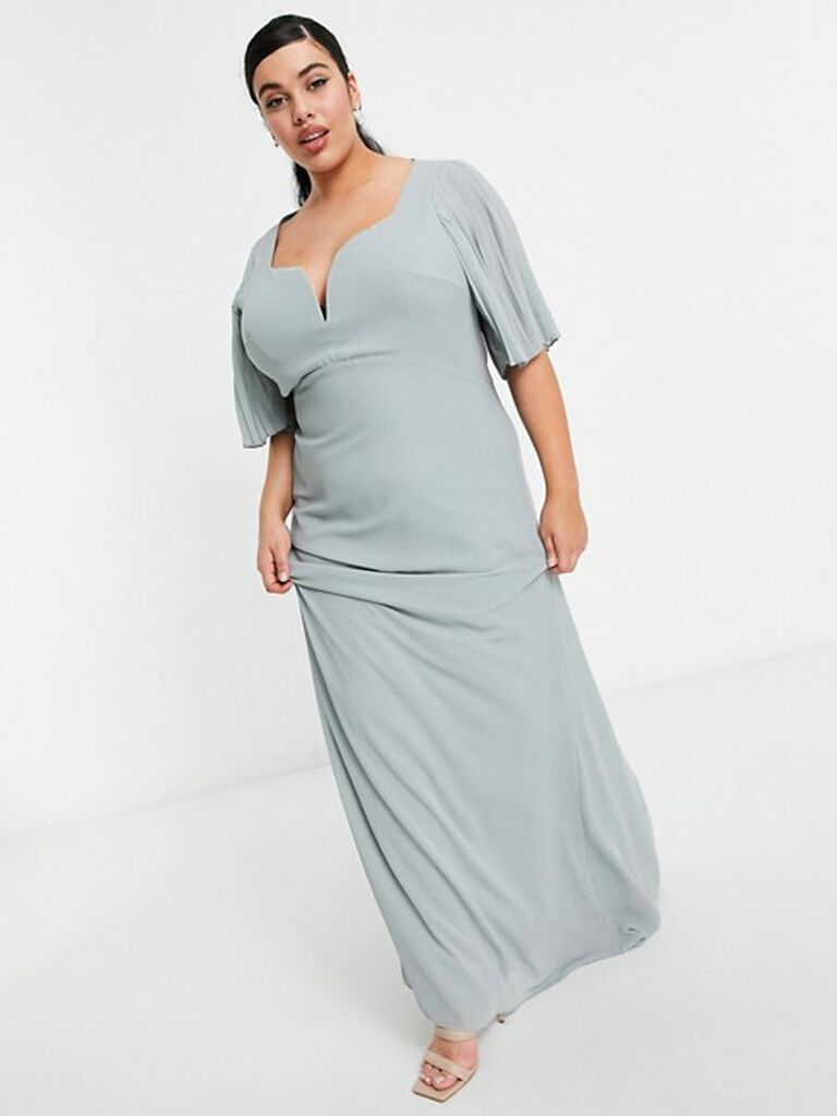 Plus bridesmaid sweetheart neck flutter sleeve maxi dress in sage