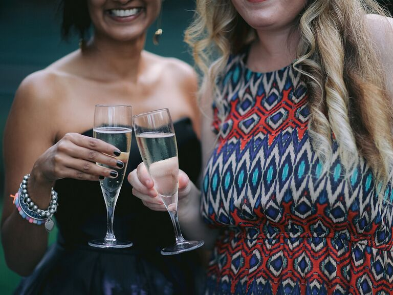 Friends toasting champagne.