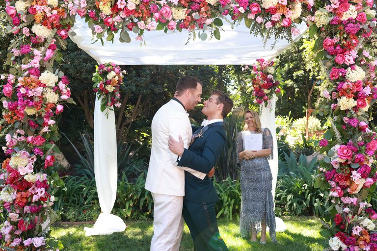 garrett clayton wedding and husband blake knight kiss