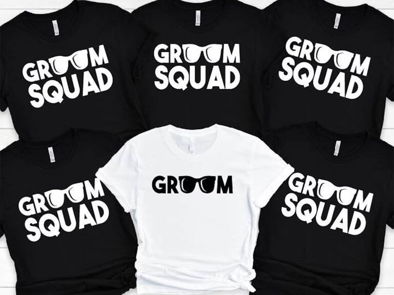 'Groom Squad' in black tees and 'Groom' in white with sunglass graphics