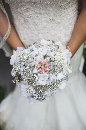 White Orchid and Silver Brooch Bouquet