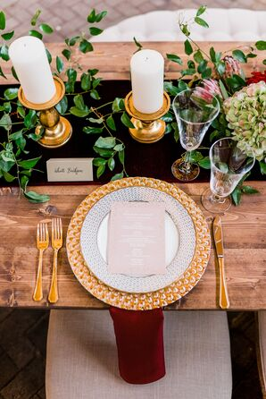 Gold Charger and Flatware on Rustic Farm Table