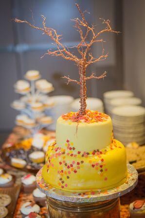 Yellow Two-Tier Wedding Cake