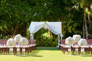 White Hydrangea and Garden Rose Ceremony Accents