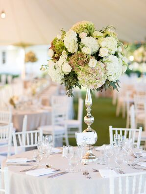 Tall White and Green Hydrangea Centerpieces