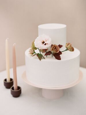 A Simple Tiered Wedding Cake with Cake Flowers