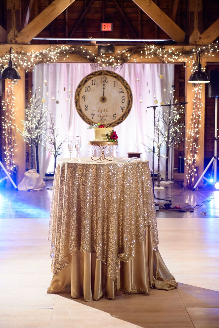 """""""Our wedding day look was completely designed around the fact that our wedding took place on New Year's Eve,"""" says Rachel."""