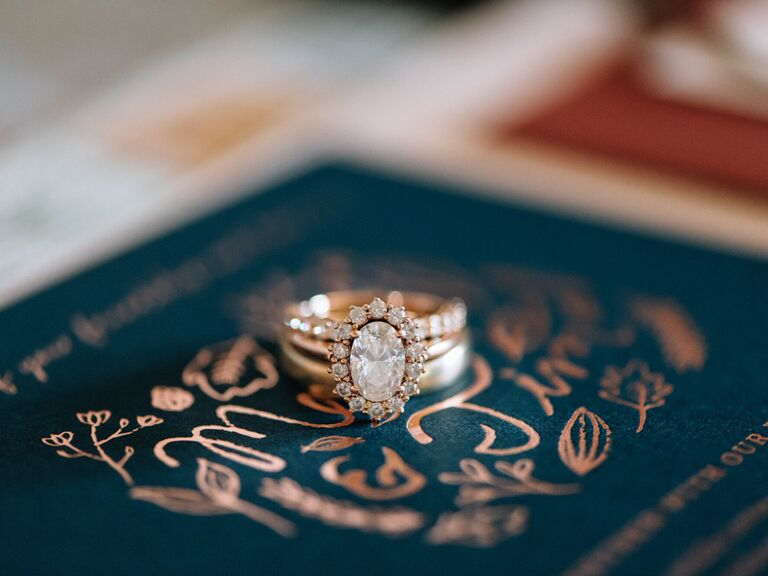 Oval engagement ring with diamond halo
