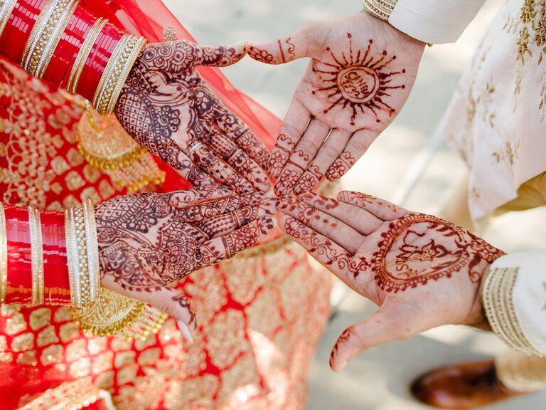 Matching bride and groom henna tattoos