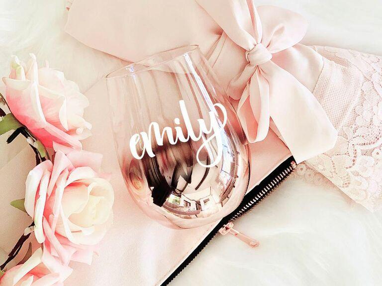 rose gold stemless wine glass