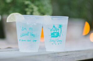 Custom Turquoise Beach Wedding Cocktail Cups