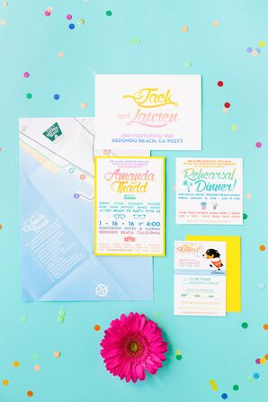 Colorful Rainbow-Themed Invitation Suite