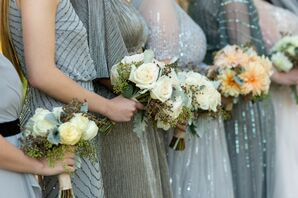 Bridesmaids in Slate Blue Dresses with Rose Bouquets