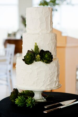 Green Succulent Decorated White Cake