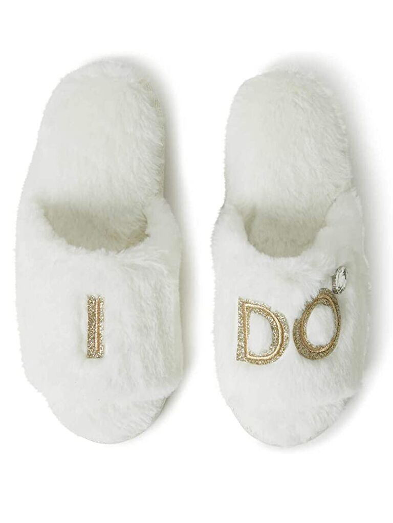 amazon white fur bride slippers with I do label