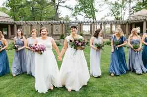 Same-Sex Couple with Wedding Party at The Crane Estate in Ipswich, Massachusetts