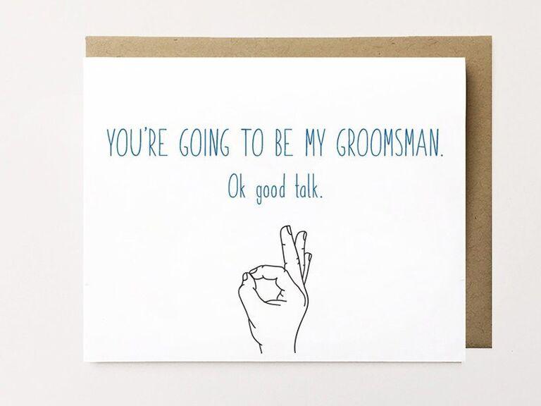 Funny groomsmen proposal card