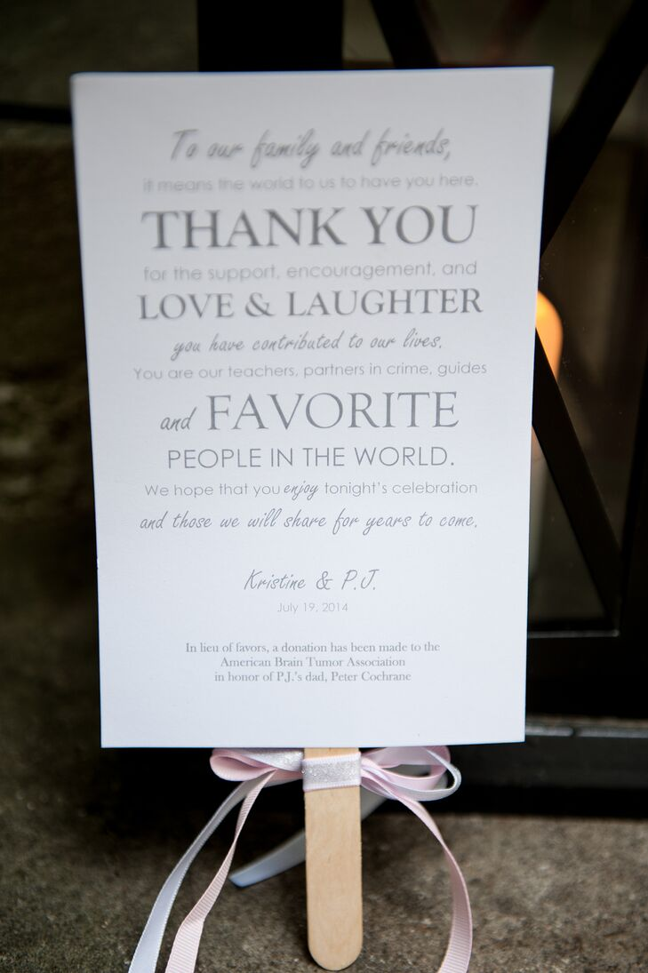 Elegant Thank You Note with Wooden Fan Handle