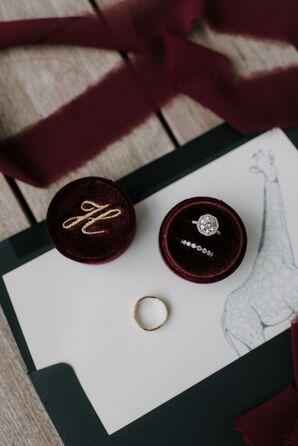Ring in Monogrammed Burgundy Velvet Ring Box