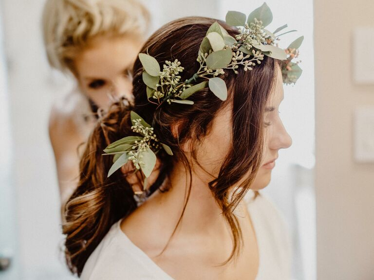Bride with a simple, romantic updo.