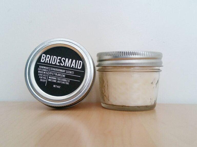 Bridesmaid proposal candle gift idea