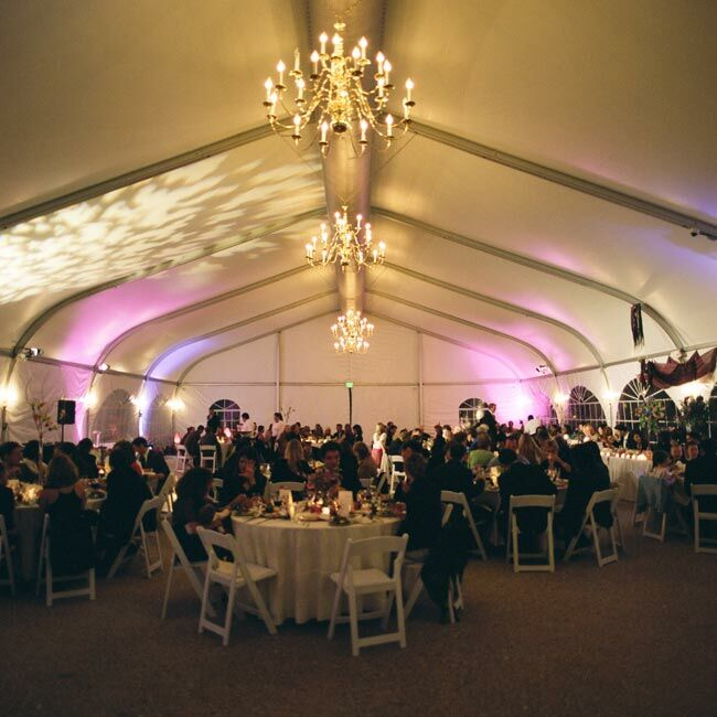 Elegant chandeliers hung from the ceiling, which was colored with specialized pink and purple lighting that was projected in the signature swirl pattern.