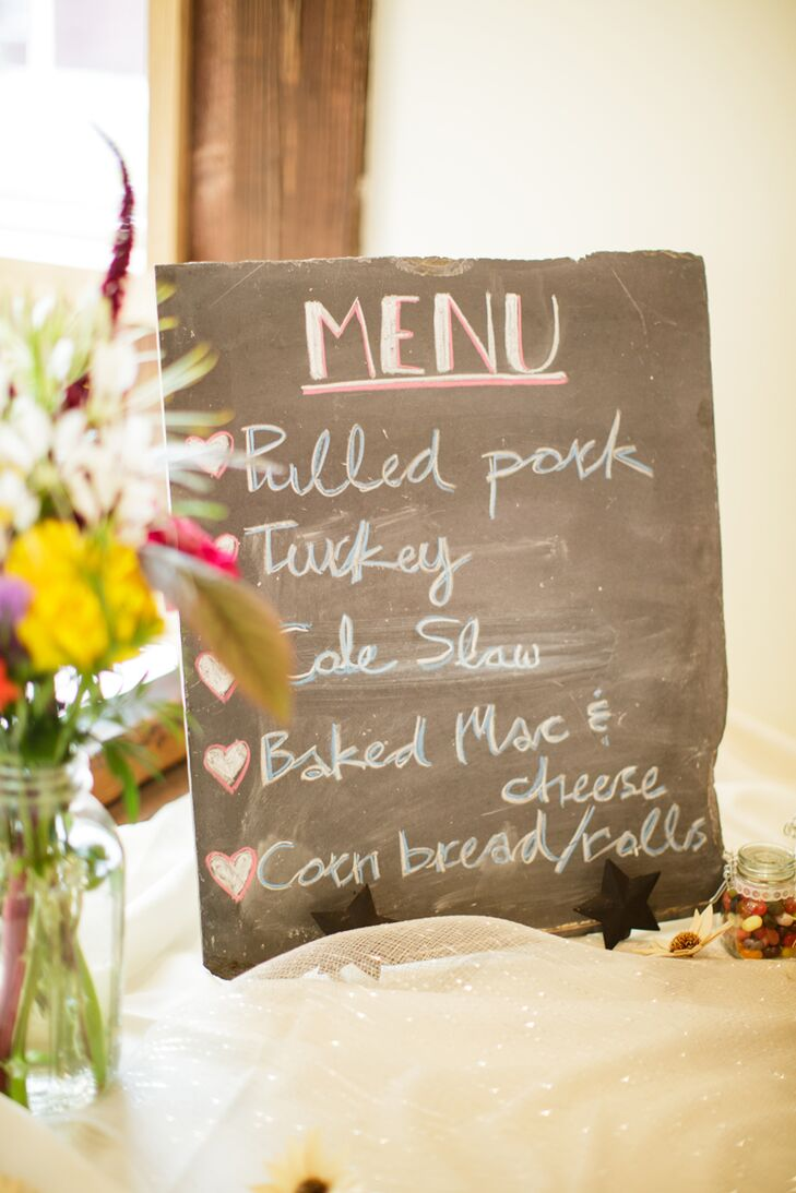 """Although they originally wanted a formal dinner, Kristie and Ryan switched things up and showed off their laid-back personalities with a Southern menu.  Mission BBQ catered the entire event with pulled pork, macaroni and cheese, cornbread, beef barbecue and more. """"Our food was the most talked about part of our entire wedding,"""" Kristie says."""