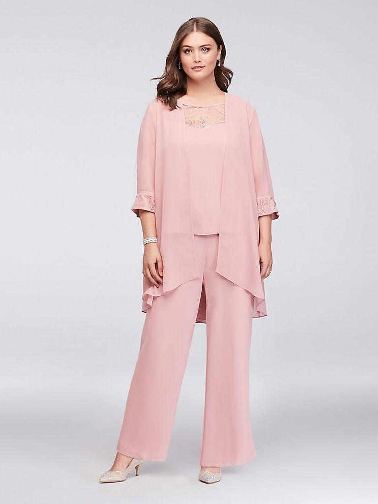 Le Bos lace-detailed georgette plus size pantsuit