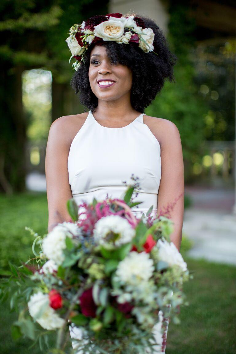 Halter neckline wedding dress