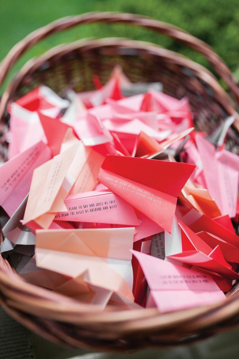 origami paper airplanes wedding decor
