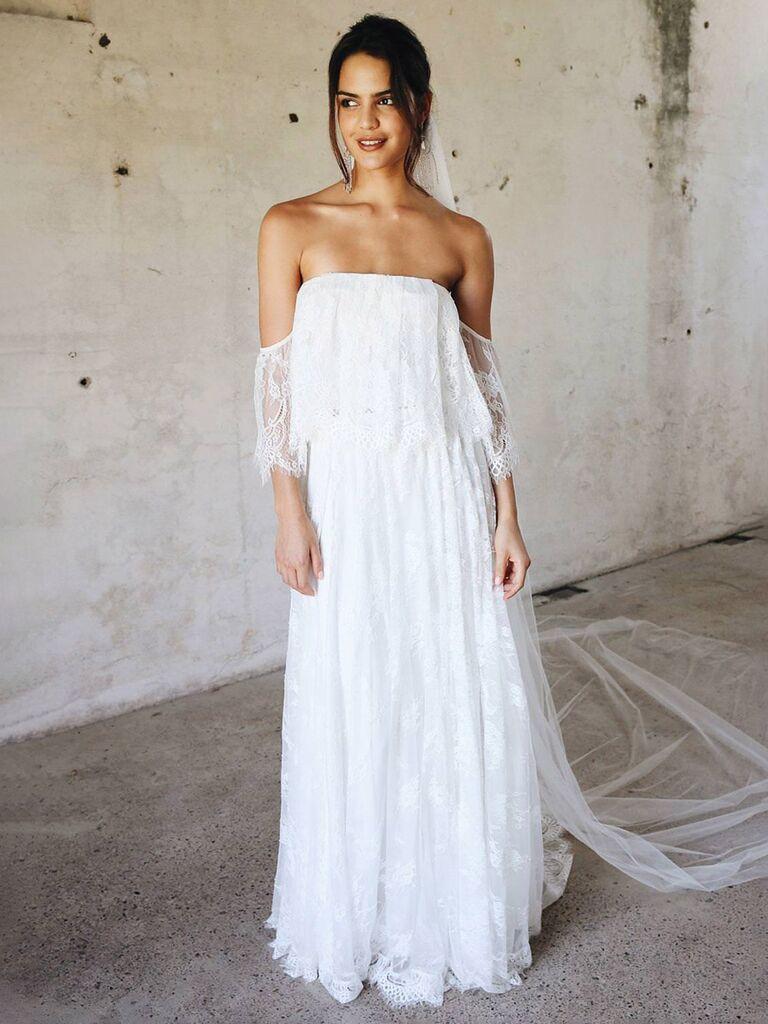 duyên dáng yêu ren ngà váy cưới trễ vai với ren toàn thân và váy hoa xếp li váy cưới màu trắng đẹp