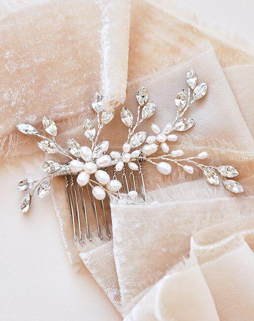 Dareth Colburn Lillian Pearl & Crystal Comb (TC-2421-S) Silver Pins, Combs + Clip