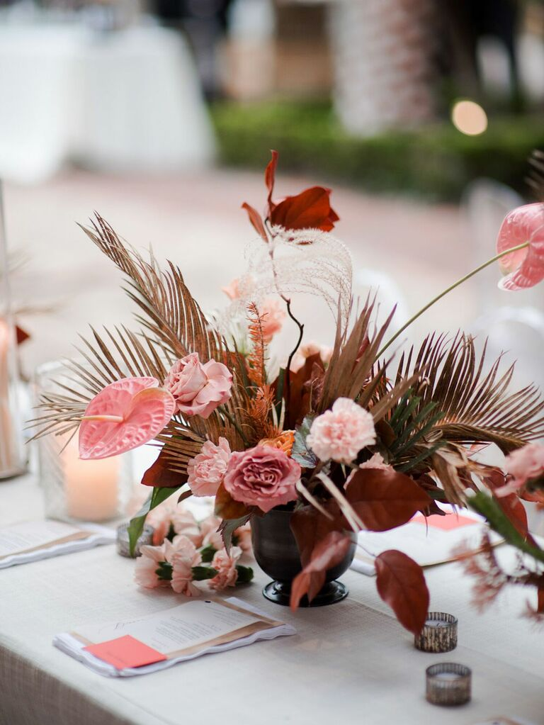 Muted pink dried floral retro centerpieces