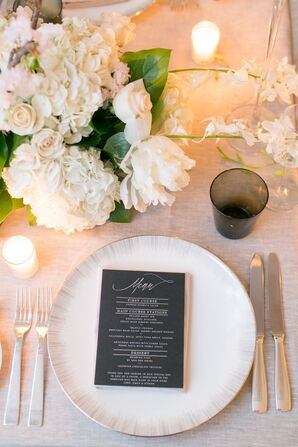 Black and White Place Setting with Modern Menu