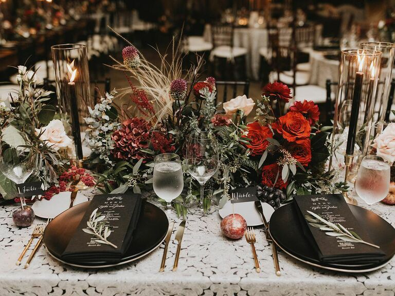 Fall wedding ideas dark and moody tablescape