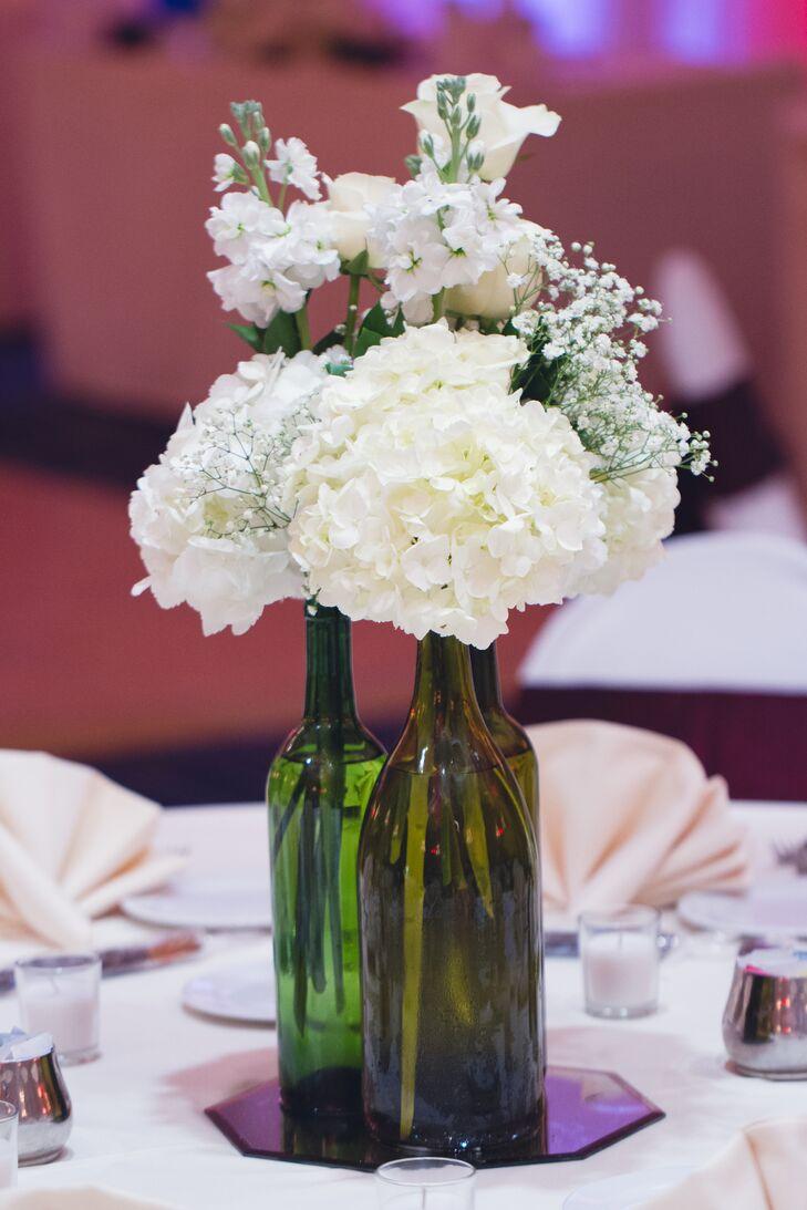 White Hydrangea in Wine Bottle Centerpieces