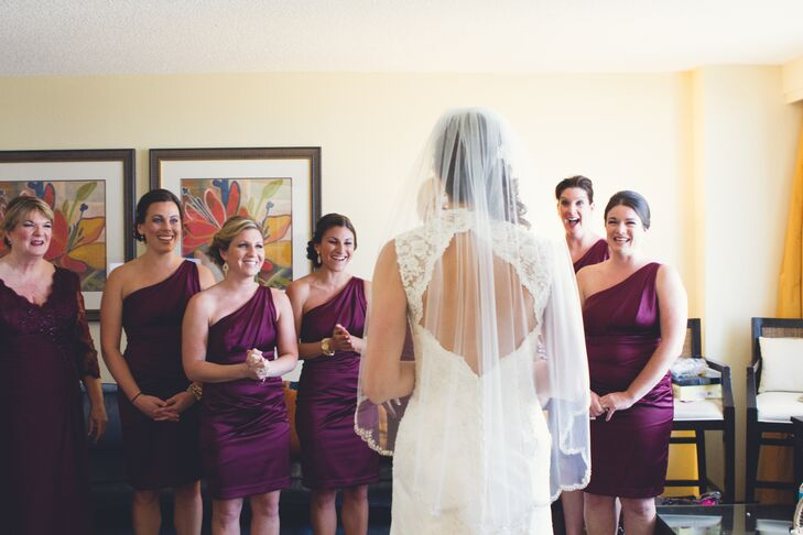 Bride's First Look to Her Bridesmaids