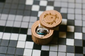 Cushion Cut Halo Engagement Ring and Turquoise Wedding Band in Wood Box