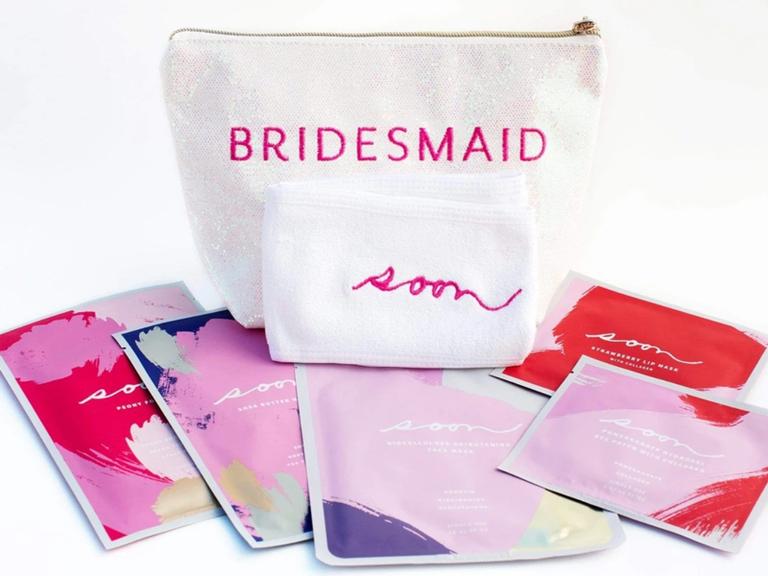 sparkly bridesmaid makeup bag