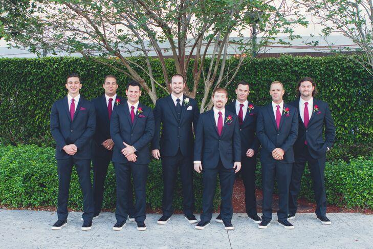 Groomsmen in Merlot-Colored Ties and Black Converse High Tops