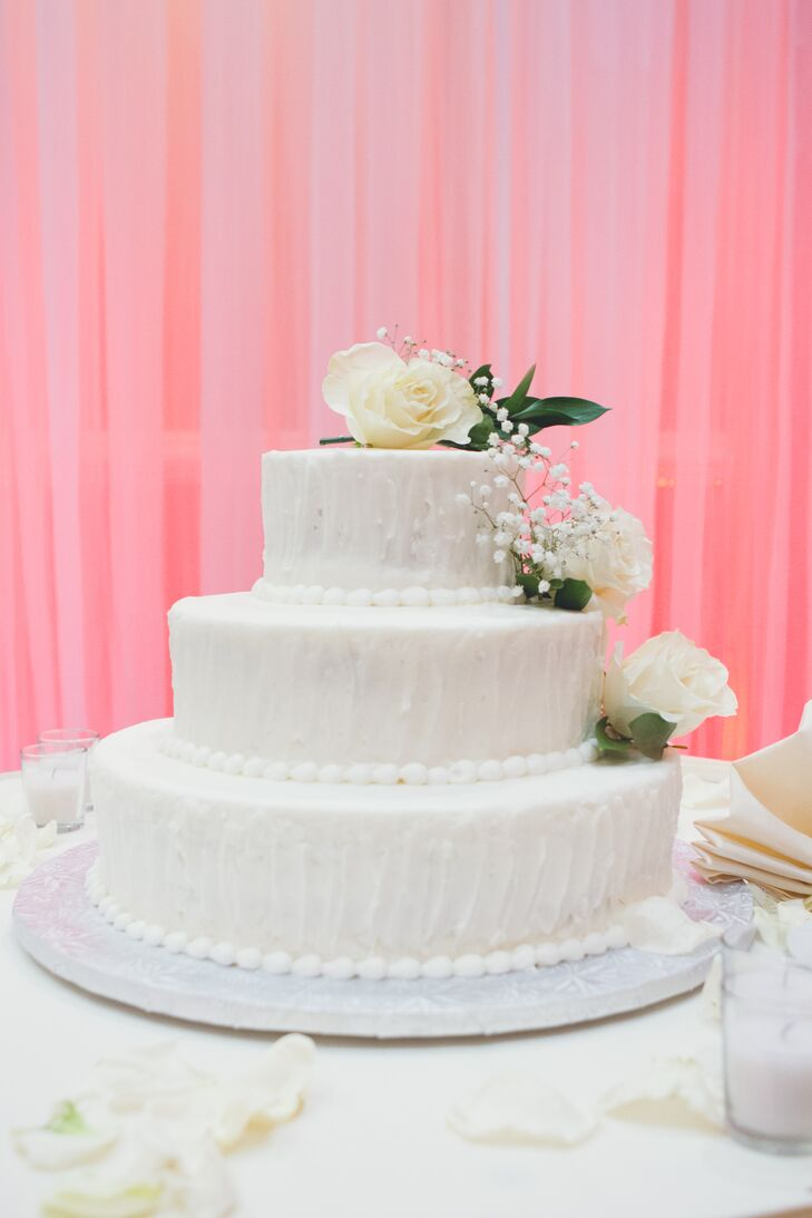 Three-Tier White Cake with Fresh Roses