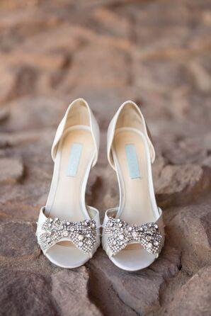 Ivory Embellished Peep Toe Bridal Heels